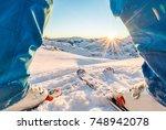 skier standing in front of... | Shutterstock . vector #748942078