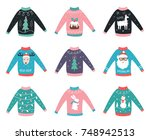 ugly knitted colorful sweaters... | Shutterstock .eps vector #748942513