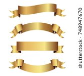 set of golden ribbons vector. | Shutterstock .eps vector #748947670