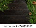 fir branches border on black... | Shutterstock . vector #748951390