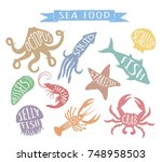 seafood hand drawn colorful... | Shutterstock .eps vector #748958503