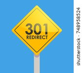 road sign yellow on a blue... | Shutterstock . vector #748958524
