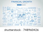 financial growth concept with... | Shutterstock .eps vector #748960426