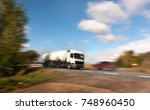 white tanker in fast motion on... | Shutterstock . vector #748960450
