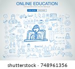 online education concept with... | Shutterstock .eps vector #748961356
