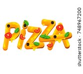 pizza word isolated on white... | Shutterstock .eps vector #748967200
