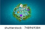2018 happy new year background... | Shutterstock .eps vector #748969384