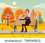 happy smiling man character... | Shutterstock .eps vector #748969813