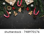 christmas background with... | Shutterstock . vector #748970176