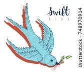 swift bird vector hand drawn... | Shutterstock .eps vector #748970914