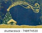 christmas nativity scene... | Shutterstock . vector #748974520