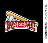 baseball logo badge with dark... | Shutterstock .eps vector #748975246