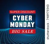 cyber monday sale banner. smart ...   Shutterstock .eps vector #748975543