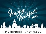 happy new year 2018 greeting... | Shutterstock .eps vector #748976680