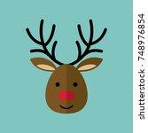 deer moose stag antler xmas... | Shutterstock .eps vector #748976854