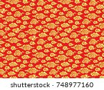 chinese red background with... | Shutterstock .eps vector #748977160