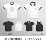 mockup set of blank t shirt ... | Shutterstock .eps vector #748977316