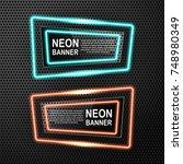 a set of neon banners....   Shutterstock .eps vector #748980349