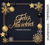 feliz navidad hand written... | Shutterstock .eps vector #748980634
