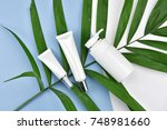 cosmetic bottle containers with ... | Shutterstock . vector #748981660