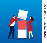 work together to build the box | Shutterstock .eps vector #748984120