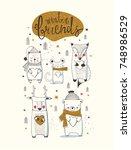 cute  animals set. bear  deer... | Shutterstock .eps vector #748986529