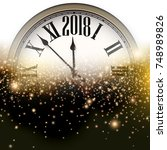 luminous 2018 new year... | Shutterstock .eps vector #748989826