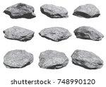 rocks set isolated on white...   Shutterstock . vector #748990120