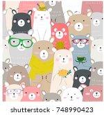 seamless cute winter blue pink... | Shutterstock .eps vector #748990423