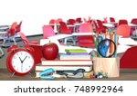 decoration of book with... | Shutterstock . vector #748992964