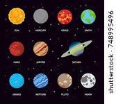 colorful planets of the solar... | Shutterstock .eps vector #748995496