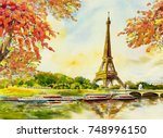 paris european city landscape.... | Shutterstock . vector #748996150