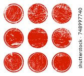 red grunge texture circles... | Shutterstock .eps vector #748997740