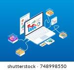 isometric computer technology... | Shutterstock .eps vector #748998550