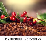 coffee background. real coffee... | Shutterstock . vector #749000503