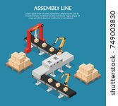 isometric automation abstract... | Shutterstock .eps vector #749003830