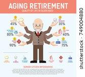 aging population info graphic.... | Shutterstock .eps vector #749004880