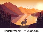 vector illustration of mountain ... | Shutterstock .eps vector #749006536