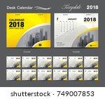 set desk calendar 2018 template ... | Shutterstock .eps vector #749007853