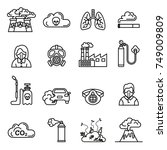 smog  air pollution icons set   ... | Shutterstock .eps vector #749009809