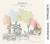 gateway of india and taj mahal... | Shutterstock .eps vector #749010874