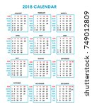 year 2018 calendar with red and ... | Shutterstock .eps vector #749012809