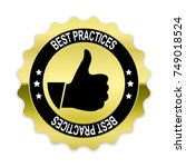 gold best practices badge with... | Shutterstock .eps vector #749018524