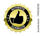 gold authentic badge with thumb ... | Shutterstock .eps vector #749018530