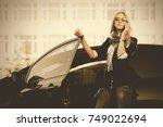 fashion business woman talking... | Shutterstock . vector #749022694