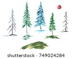 a set of watercolor conifers.... | Shutterstock . vector #749024284