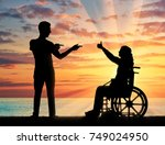 happy disabled woman in a... | Shutterstock . vector #749024950