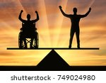 a disabled person in a...   Shutterstock . vector #749024980