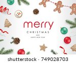 christmas flat lay design with... | Shutterstock .eps vector #749028703
