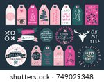 merry christmas  happy new year ... | Shutterstock .eps vector #749029348